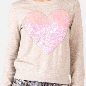 Forever 21 Grey with Heart Sequin Sweater